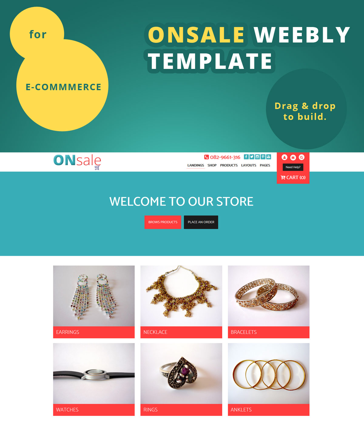 Onsale Weebly e-commerce and weebly store template - Roomy Themes